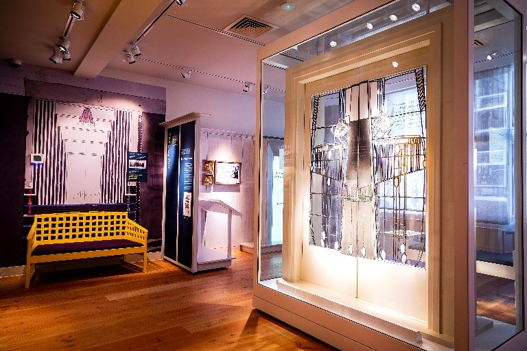 The original Salon de Luxe doors on display at the Exhibition at Mackintosh at the Willow - the original Willow Tearooms building, established in 1903.